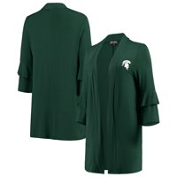 Michigan State Spartans Women's All Wrapped Up Ruffle Half Sleeve Cardigan - Green