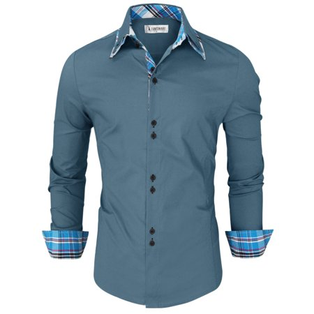 TAM WARE Mens Trendy Slim Fit Inner Checkered Button Down Shirt