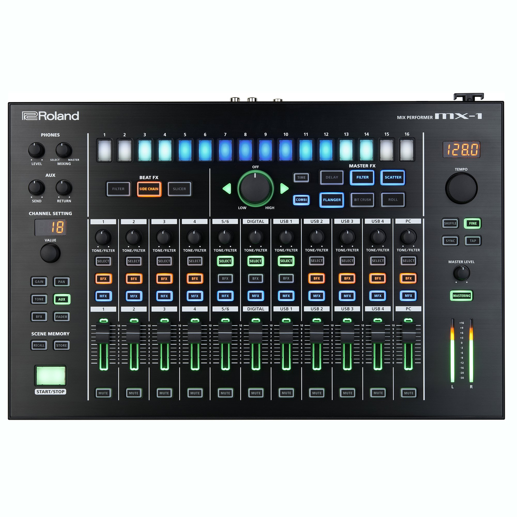 Roland MX-1 AIRA 18 Channel Mix Performer 4 Deck Portable DJ Control Surface