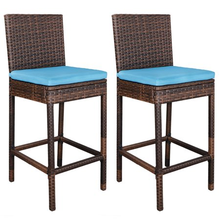 ZENY Patio Wicker Bar Stools Set of Two - All Weather Outdoor Indoor Freestanding Chair with Soft Detachable Blue Cushion ()