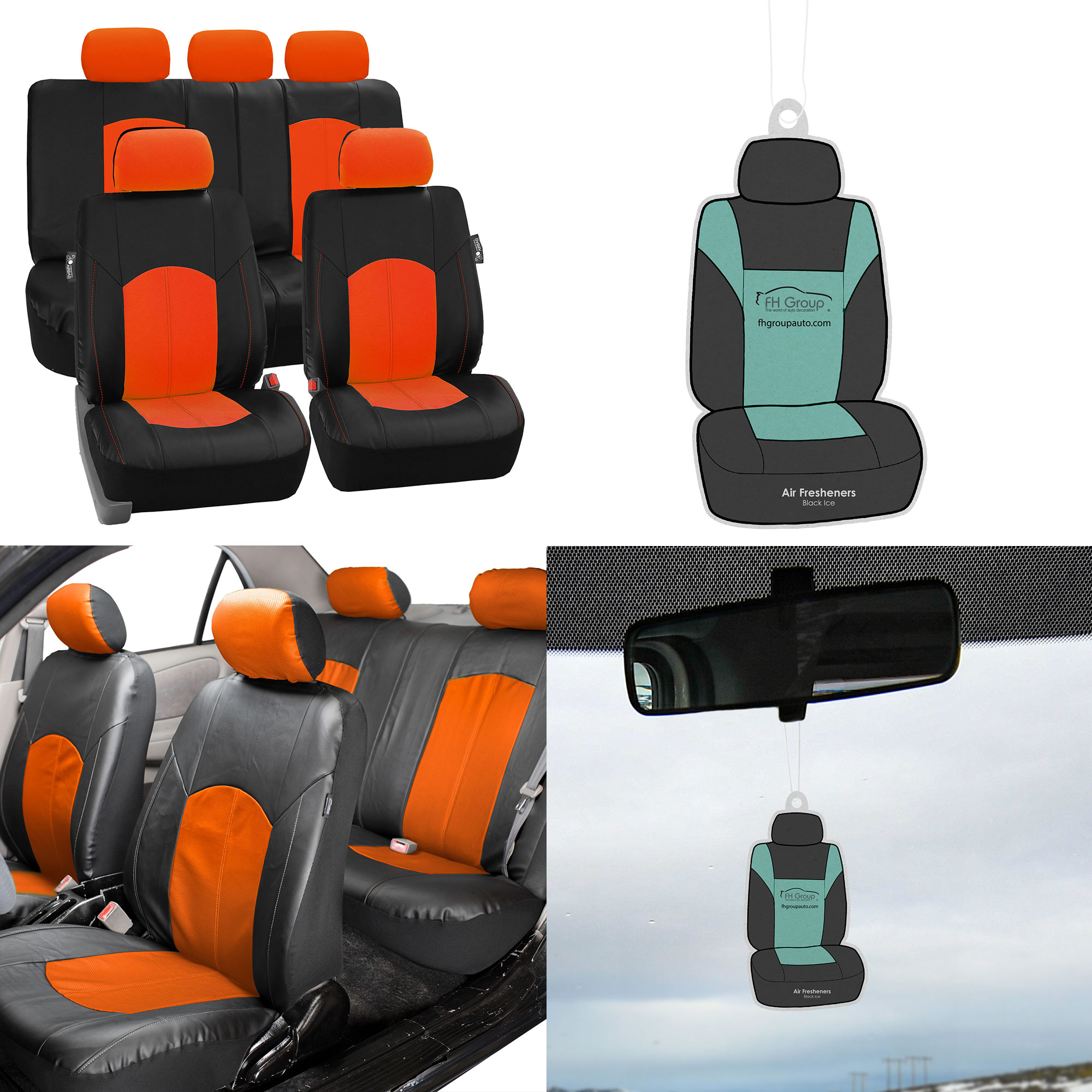 FH Group, Orange Black Deluxe Leather Seat Cover Full Set w/ Free Air Freshener, Airbag Compatible / Split Bench Covers
