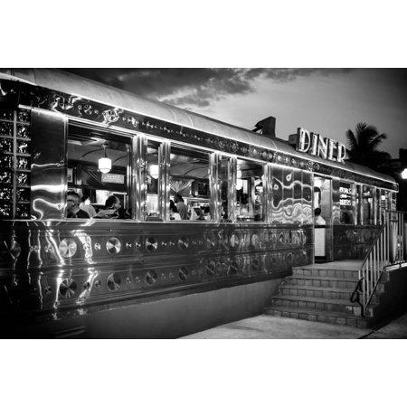Miami South Beach and Art Deco - Diner Restaurant - Florida - USA Print Wall Art By Philippe Hugonnard - Halloween Restaurant Specials Miami
