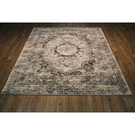 "Area Rug in Grey with Ivory & Black Contemporary Design with Juke Backing. 100% Polypropylene. Size 5'3"" X 7'5"