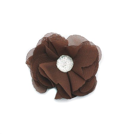 Reflectionz Girls Brown Flower Silver Jewel Hair Clippie Accessory