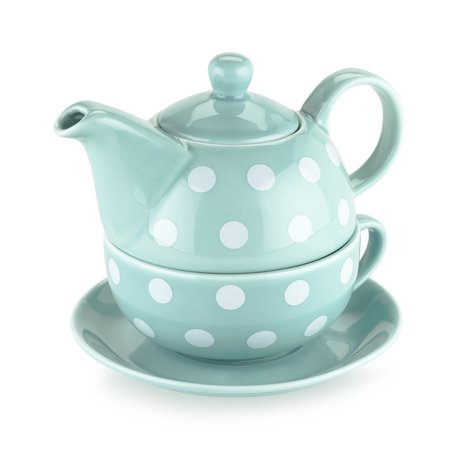 Teapots, Addison Polka Dot Chinese Ceramic Small Cute Tea For One (Sold by Case, Pack of 3)