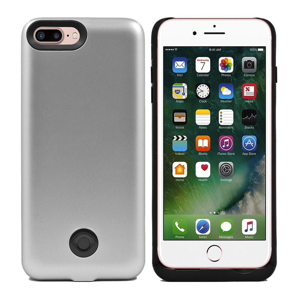 IPhone 7 Plus External Battery Backup Case Charger Power Bank 9000mAh Silver - Walmart.com
