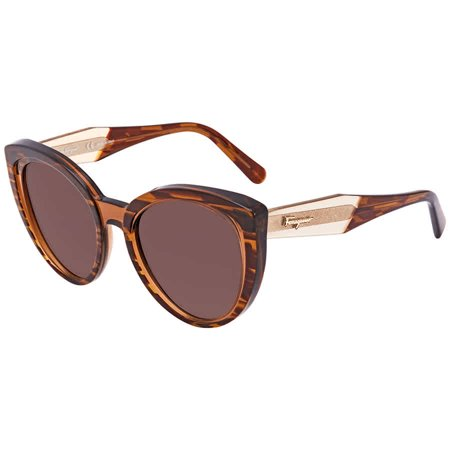 Ferragamo Salvatore Striped Transparent Brown Plastic Frame Brown Lens Unisex Sunglasses SF891S296357055319 ()