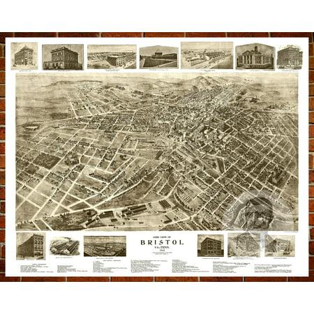 Ted S Vintage Art Map Of Bristol Va 1912 Old Virginia Decor 24 X