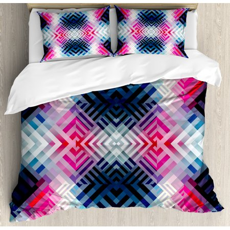 Abstract Decor Queen Size Duvet Cover Set, Fractal Lines with Diagonal Geometric Angled Repeating Pattern Artistic Display, Decorative 3 Piece Bedding Set with 2 Pillow Shams, Multi, by Ambesonne ()