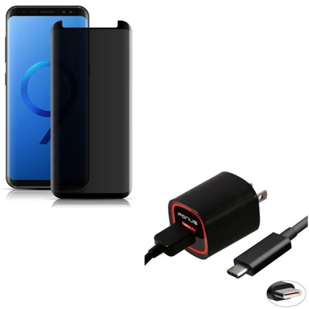 Compatible With Samsung Galaxy S9 - 3D Tempered Glass Anti-Peep Privacy Screen Protector w 2.4 Amp Rapid Home Wall Travel Charger USB 6ft Type-C (Best Learn To Type App)