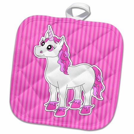 3dRose Unicorn Pink and White - Pot Holder, 8 by 8-inch