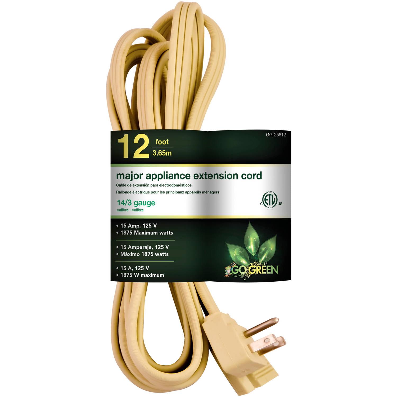 GoGreen Power 14/3 12' Appliance Cord, Beige, 25612