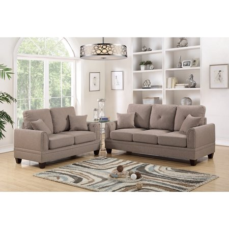 Awesome 2Pcs Sofa Set Living Room Sofa And Love Seat Coffee Cotton Blended Fabric Couch Wood Legs Pillows Cushion Nickel Studs Trim Machost Co Dining Chair Design Ideas Machostcouk
