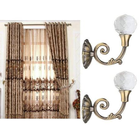 2x Large Metal Crystal Glass Curtain Holdback Wall Tie Back Hooks Hanger Holder hotsales - Large Glass Windows