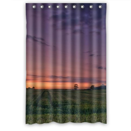 GreenDecor Grass Field Tree Suknset Glow Waterproof Shower Curtain Set With Hooks Bathroom Accessories Size 48x72 Inches