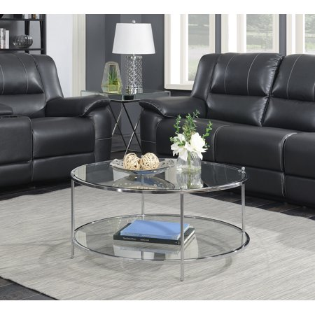 Convenience Concepts Royal Crest 2 Tier Round Gl Coffee Table