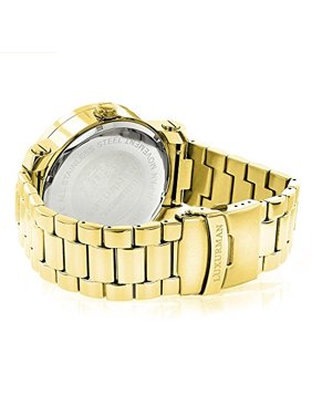 9e03634cc67 Product Image Unique Large Mens Diamond Watch 18k Yellow Gold Plated by  Luxurman 0.12ct
