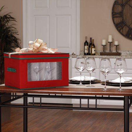 Household Essentials Holiday Stemware Goblet Chest
