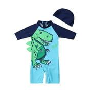 2PCS Baby Kid Boy Dinosaur Sun Protective Swimwear Rash Guard Swimsuit+Hat Costume Fit For 1-6Y