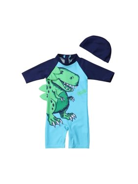 2PCS Baby Kid Boy Dinosaur Sun Protective Swimwear Rash Guard Swimsuit+Hat Costume Fit For 1-6Y