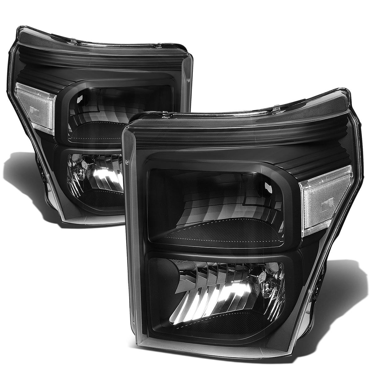 For 2011 To 2016 Ford F250 F350 F450 F550 Super Duty Headlight Black Housing Clear Corner