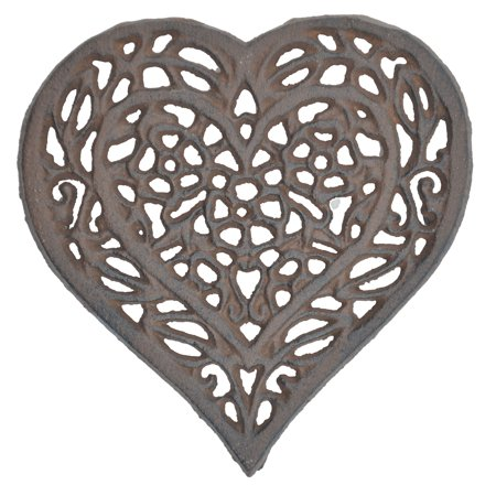 "Decorative Cast Iron Trivet - Ornate Floral Heart - 6.5"" Wide"