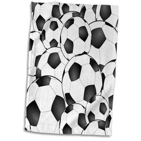 3dRose Soccer balls pattern. Black and white footballs sport sports sporty sporting game team player - Towel, 15 by 22-inch](Soccer Player Photo)