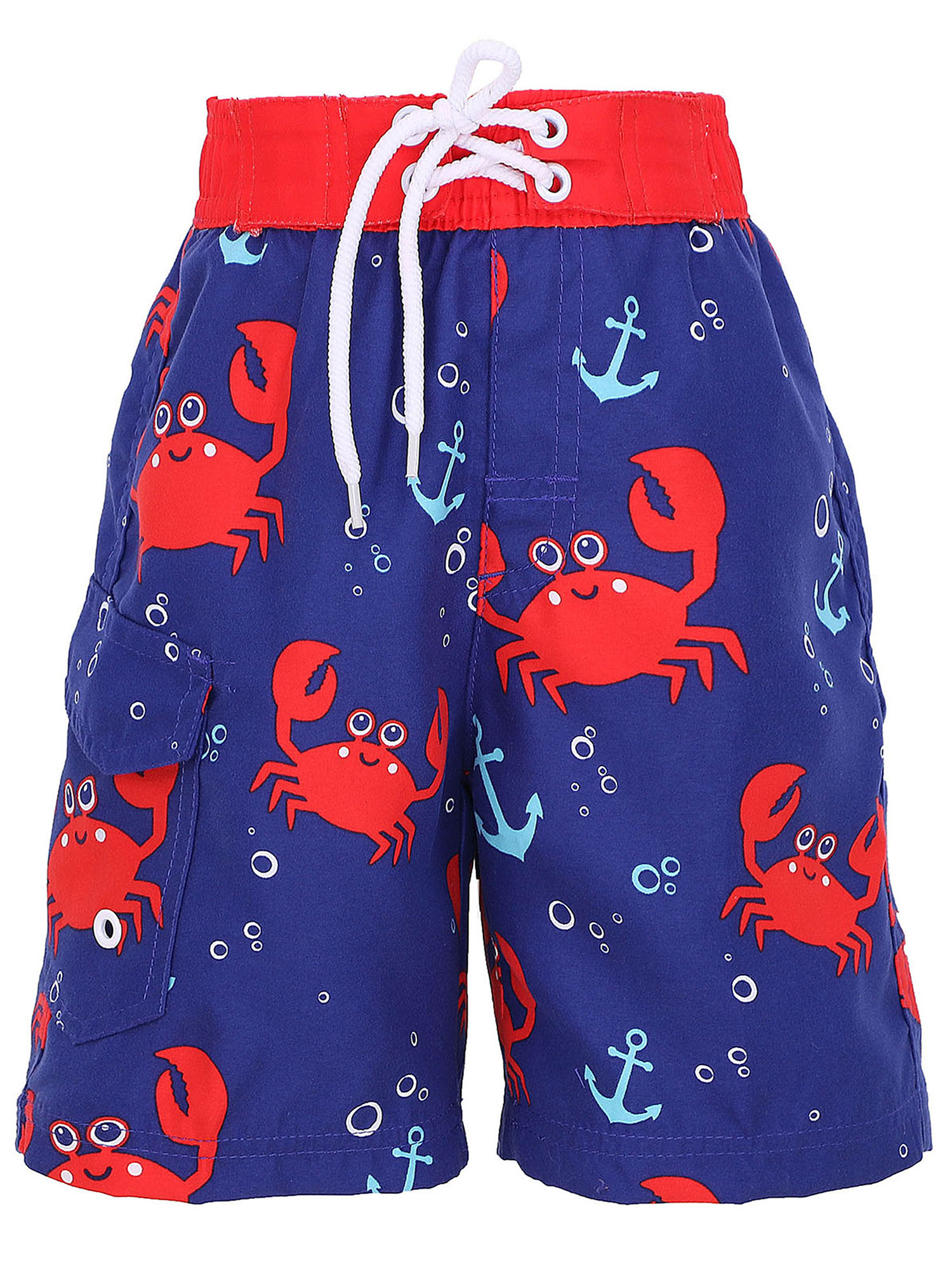 Boys' Fast Drying Sea Creature Sun Protection Swim Trunks, Crab, XL