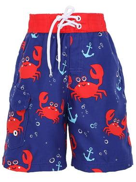 Boys' Fast Drying Sea Creature Sun Protection Swim Trunks, Crab, XL