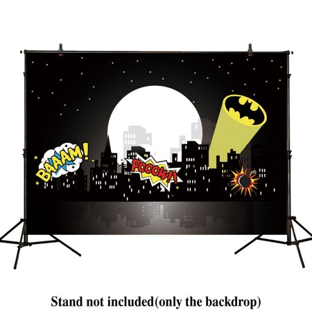MOHome Polyster 7x5ft photography backdrop superhero bat birthday party hero super city building night baby shower boy children background prop photo studio photobooth - Superhero Photo Effects