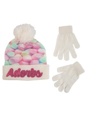 ABG Accessories Cuffed Beanie Hat and gloves Cold Weather Set 866a5e378378