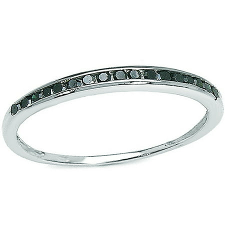 Dazzlingrock Collection 0.25 Carat (ctw) Sterling Silver Black Round Real Diamond Wedding Anniversary Stackable Band Ring 1/4 CT, Size 7.5