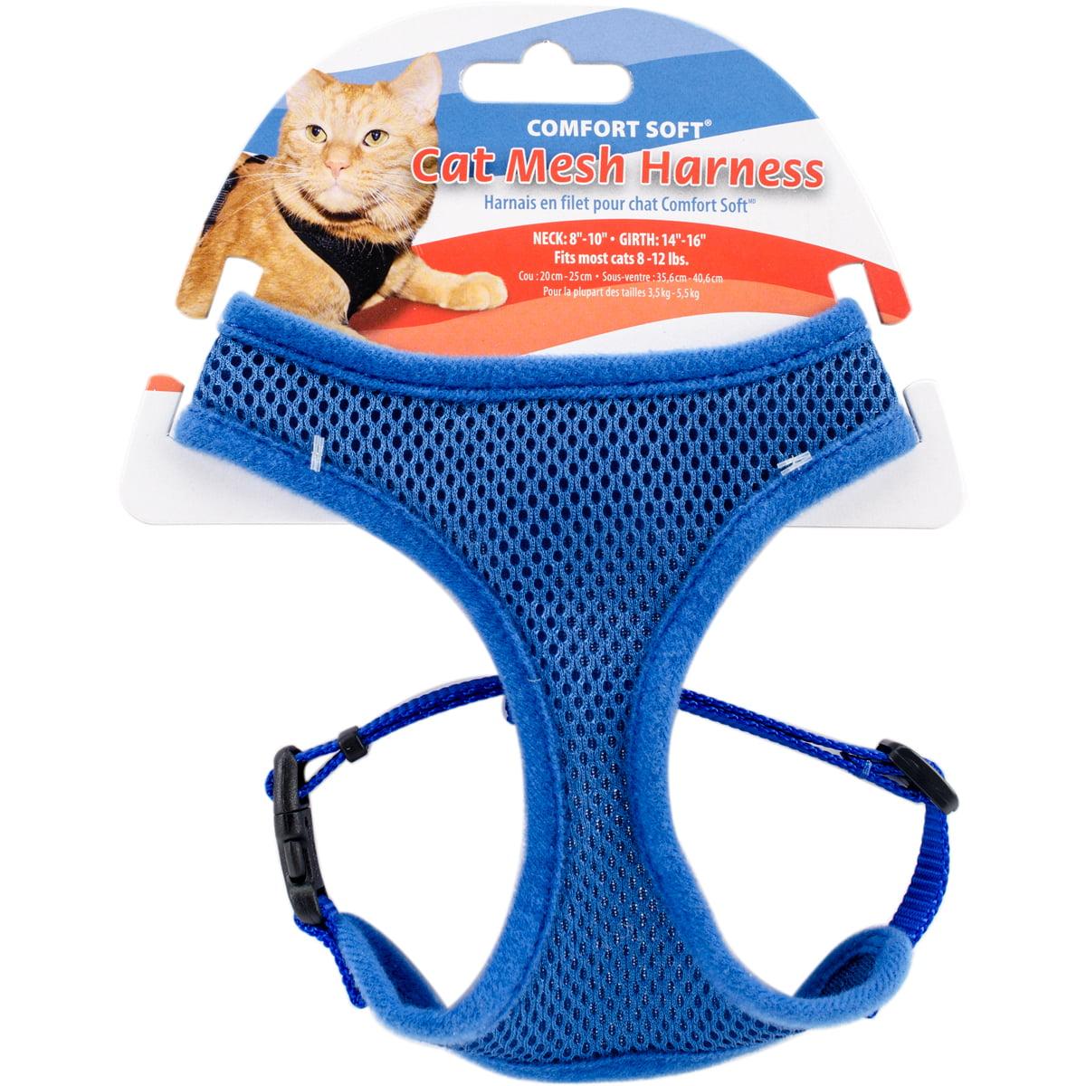 Comfort Soft Adjule Mesh Cat Harness Blue