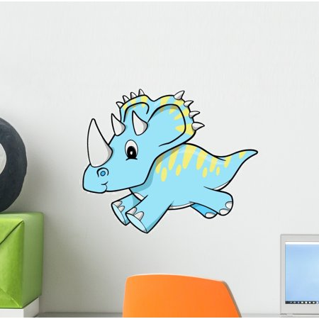Blue Triceratops Baby Dinosaur Wall Decal Sticker by Wallmonkeys Vinyl Peel & Stick Graphic for Boys (12 in H x 9 in W)
