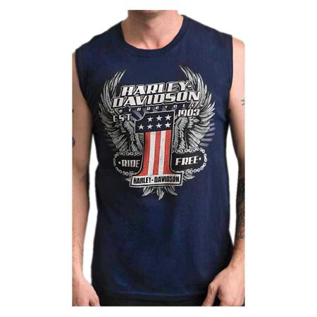 Harley-Davidson Men's Daredevil #1 Sleeveless Crew Neck Muscle Shirt - Navy, Harley (Crew Sleeveless)