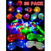 60 Pieces LED Light Up Toy Party Favor Party Pack for classroom price –44 LED Finger Lights, 12 LED Flashing Bumpy Rings and 4 Flashing Slotted Shades Glasses