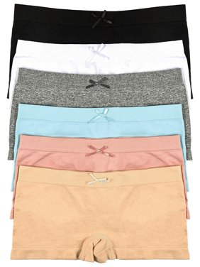 ToBeInStyle Girls' Pack of 6 Solid Color Ribbon Seamless Boyshorts - S/M