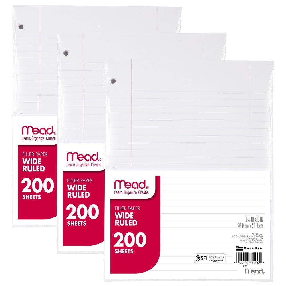 "Mead Filler Paper, Loose Leaf Paper, Wide Ruled Paper, 200 Sheets, 10-1/2"" x 8"", White, 3 Pack (73183)"