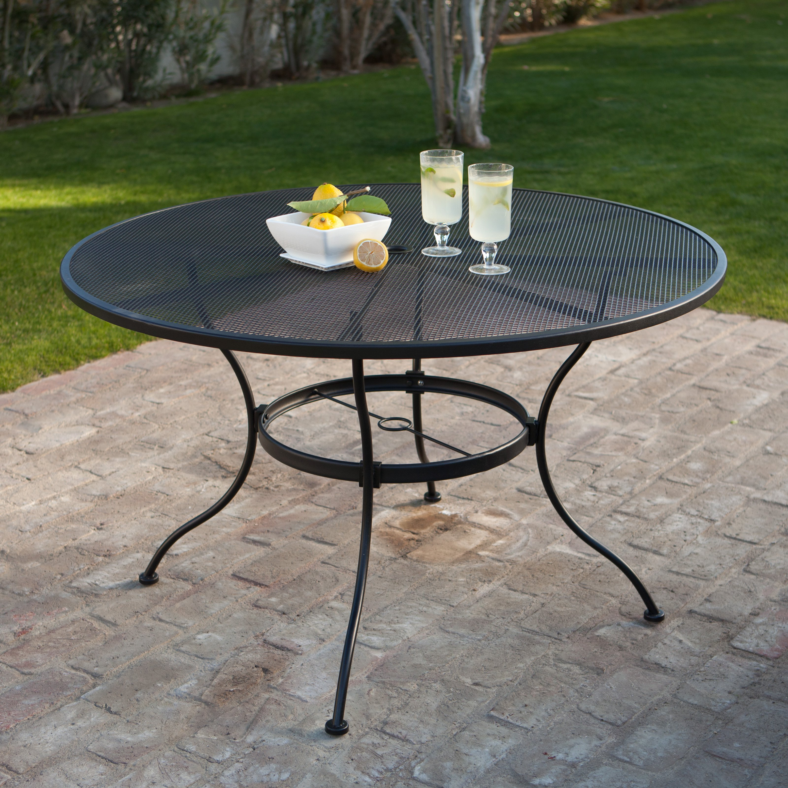 Round Wrought Iron Patio Dining Table By Woodard Textured Black