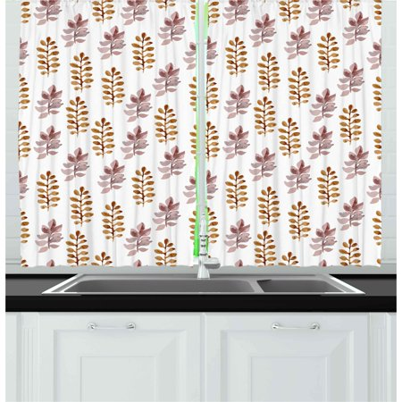 Nature Curtains 2 Panels Set, Blossom Pattern in Watercolors Floral Spring Branch Ornament Leaves Art, Window Drapes for Living Room Bedroom, 55W X 39L Inches, Dried Rose Pale Coffee, by Ambesonne