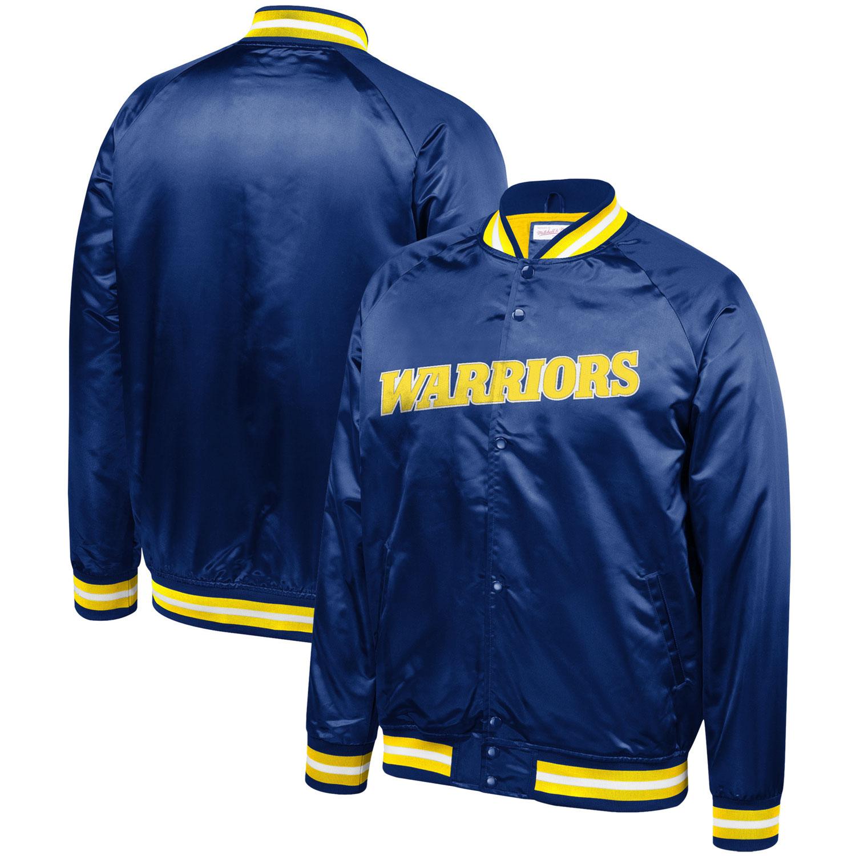 Golden State Warriors Mitchell & Ness Hardwood Classics Throwback Wordmark Satin Jacket - Royal