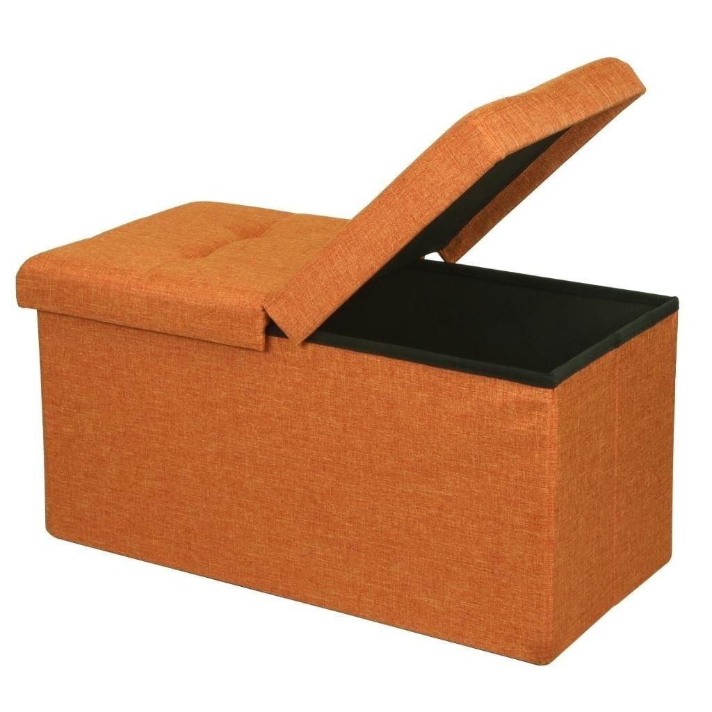 Crown Comfort Storage Ottoman Bench 30 Inch Smart Lift Top Amber