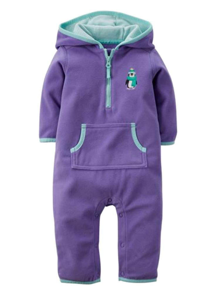Carters Infant Girls Purple Penguin Hooded Fleece Jumpsuit Coverall Outfit