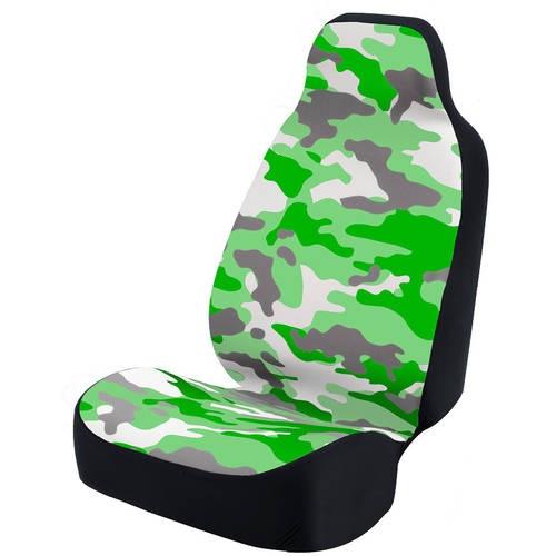 Coverking Universal Seat Cover Fashion Print, Ultra Suede, Camo Green and White Background with Black Interlock Backing