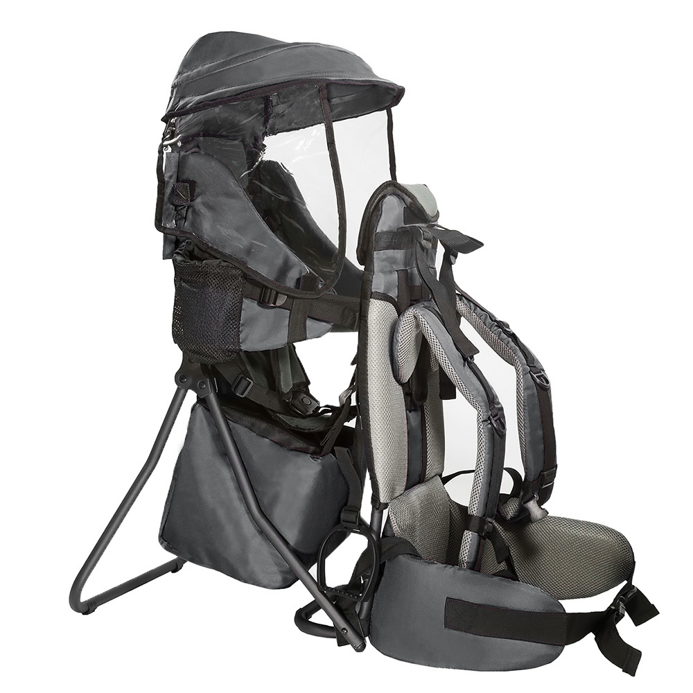 Clevr Premium Baby Backpack Carrier Lightweight with Stand & Child Kid Sun Shade, Grey by Clevr
