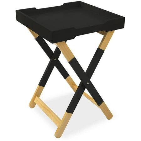 Mainstays Wood Tray Side Table, Black