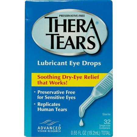 Thera larmes gouttes oculaires lubrifiantes à usage unique contenants 002 Fl Oz 32 Ct