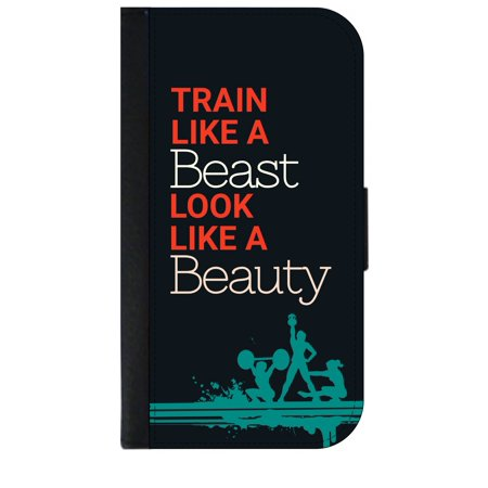 Train Like a Beast Look Like a Beauty - Wallet Style Cell Phone Case with 2 Card Slots and a Flip Cover Compatible with the Apple iPhone 4 and 4s (Business Card That Looks Like An Iphone)