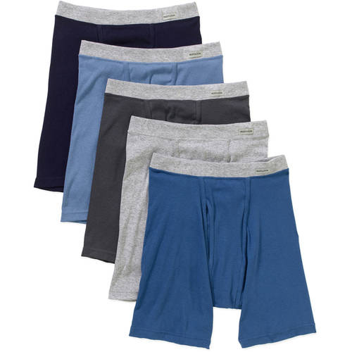 New Improved Fit! Fruit of the Loom Men's 5 pack Soft Fabric Covered Waistband Boxer Briefs