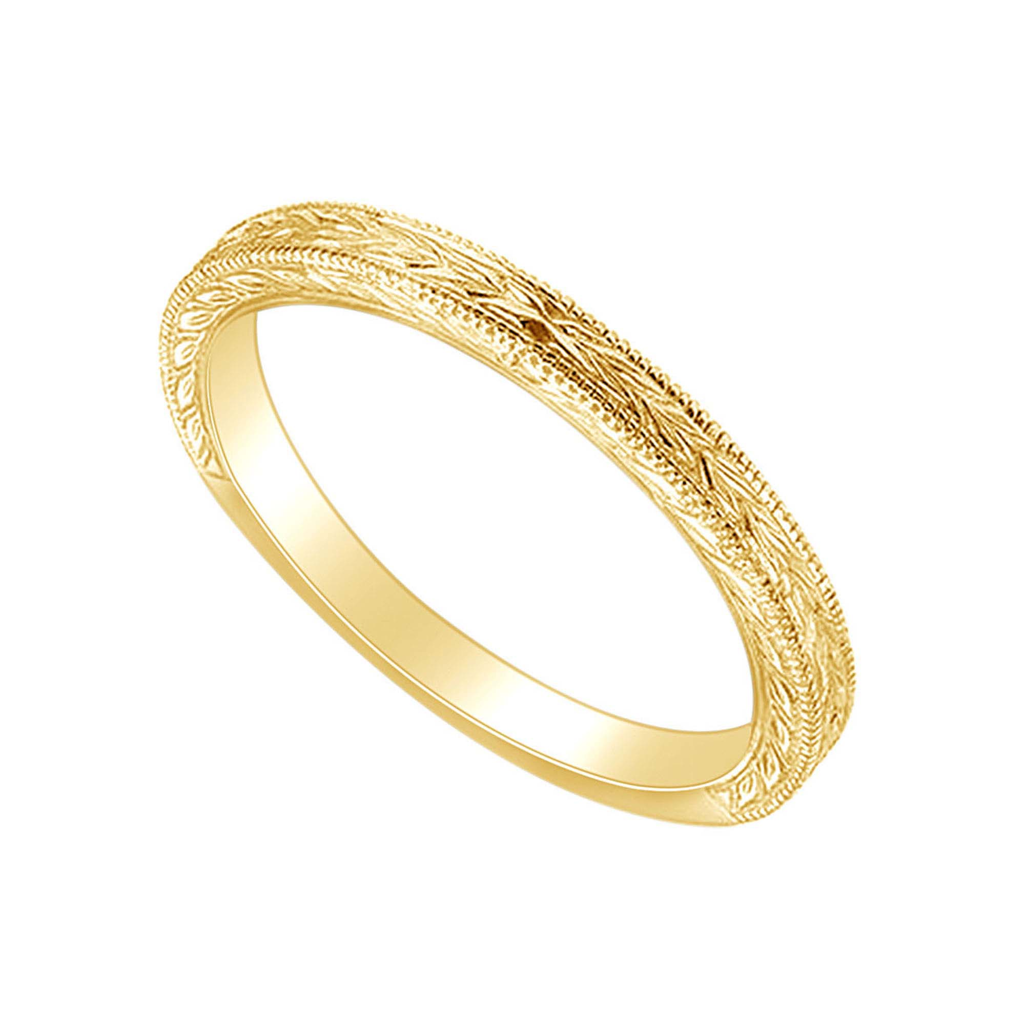 Ring Wrapped Around Leaf Design Real 14K Yellow Gold